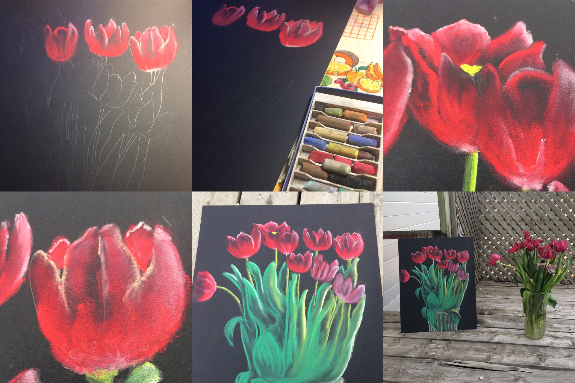 red tulip flower art one