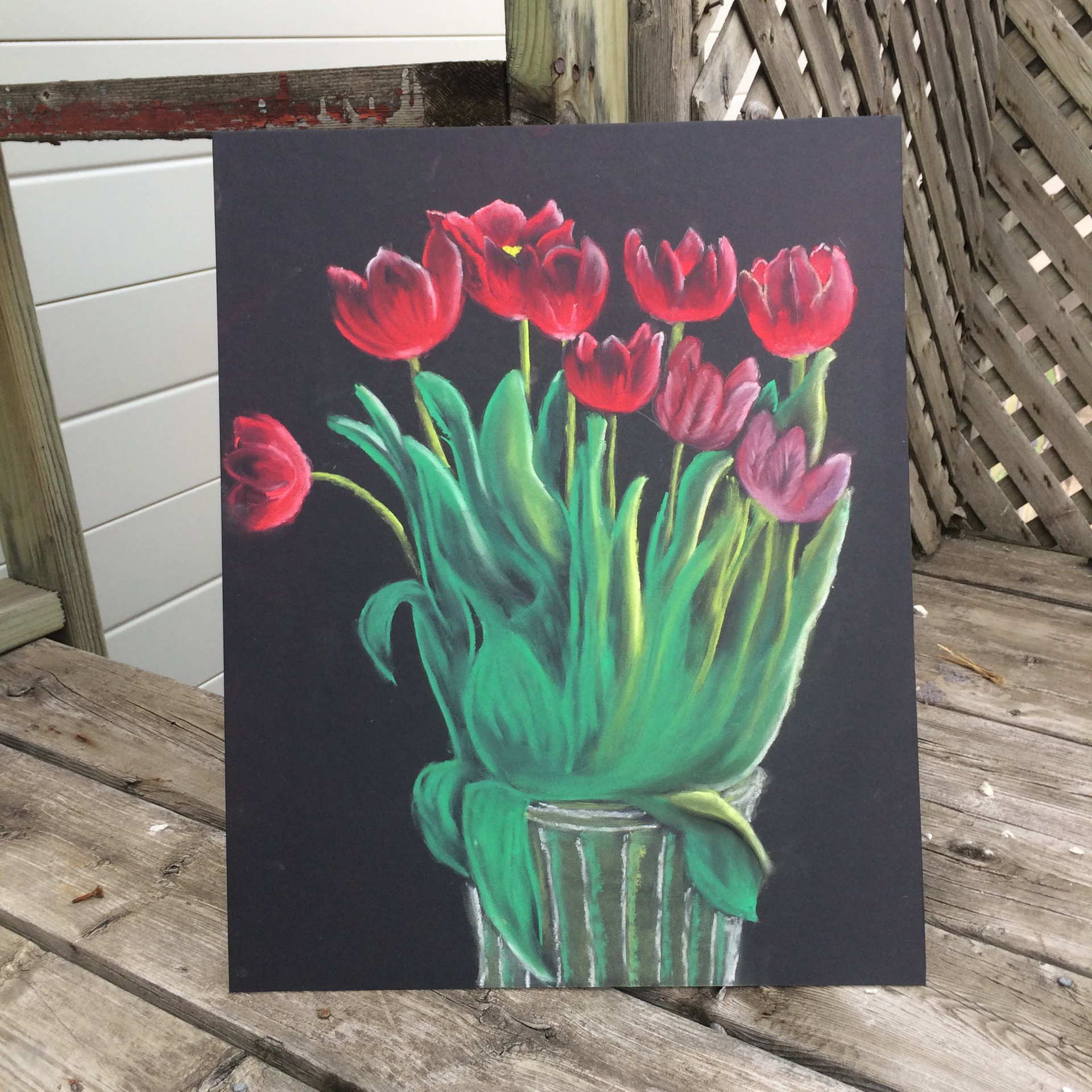 red tulip flower art two