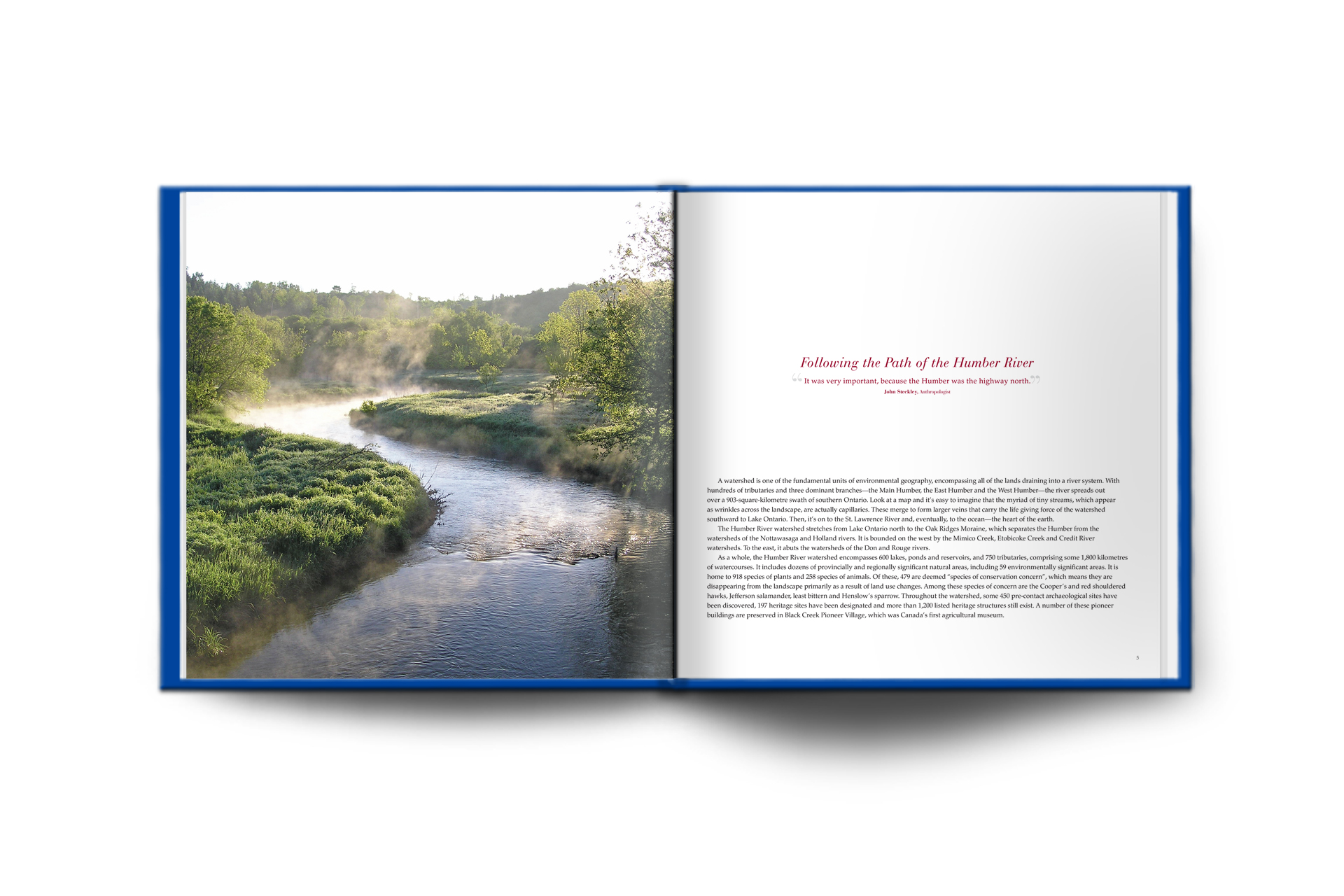humber river book layout design spread one